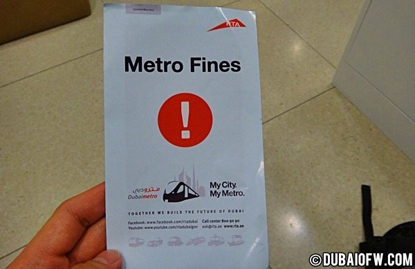 RTA Metro Fines in Dubai