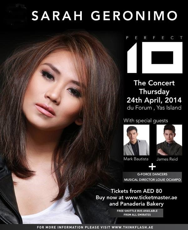 Sarah Geronimo Perfect 10 Concert Abu Dhabi – April 2014