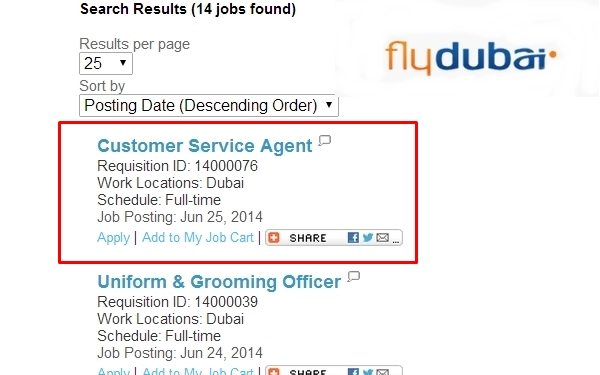 flydubai Hiring Customer Service Agents