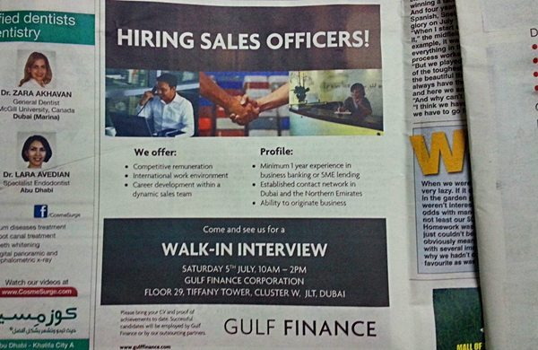 Gulf Finance Walk-in Interview for Sales Officers July 2014