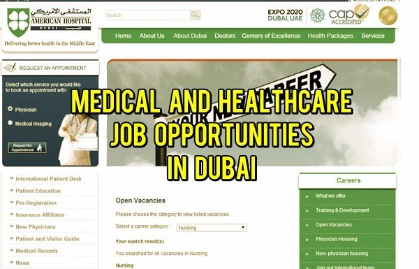 Medical & Healthcare Job Opportunities in Dubai 2014
