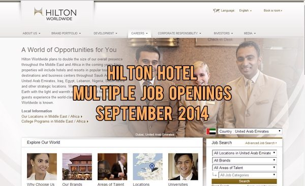 Hilton Dubai Job Vacancies September 2014