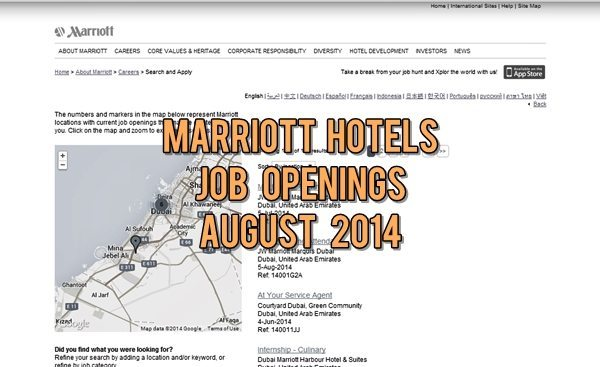Marriott Hotel Job Openings August 2014