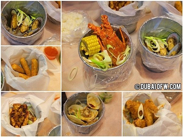 seafood in a bucket restaurant