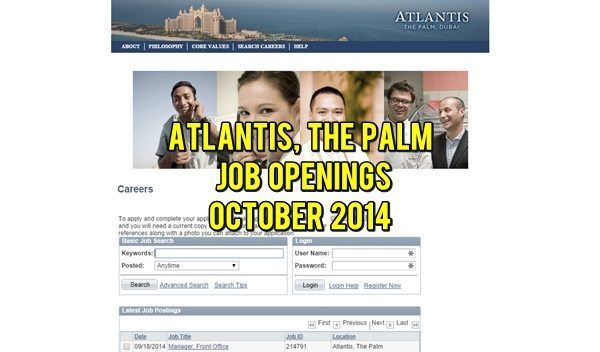 Atlantis, The Palm Job Opportunities October 2014
