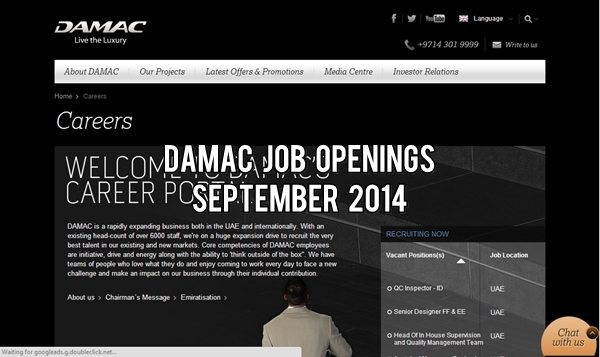 Damac Properties Job Opportunities September 2014
