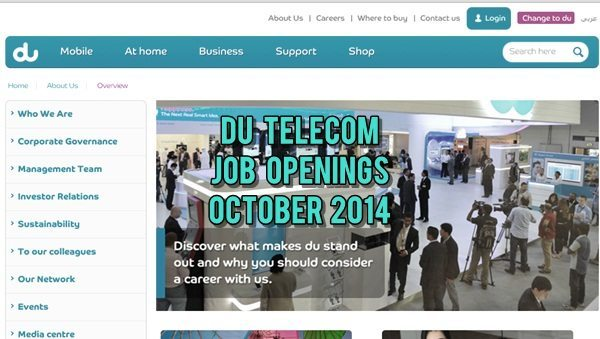Du UAE Career Opportunities October 2014