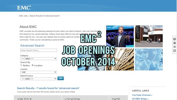 EMC2 UAE Job Openings October 2014