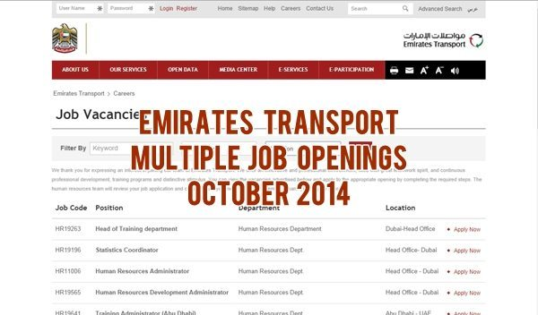 Emirates Transport Job Vacancies October 2014