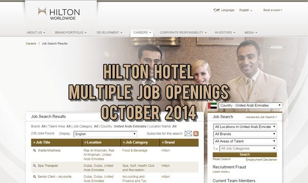 Hilton UAE Career Opportunities October 2014