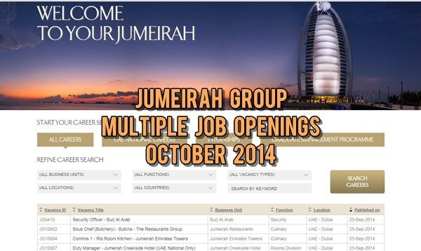 Jumeirah Group UAE Multiple Job Opportunities October 2014