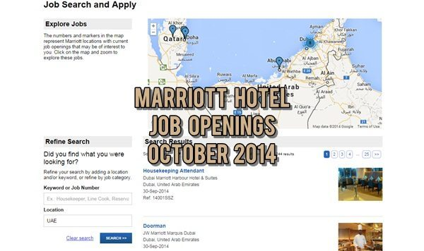 Marriott Hotel UAE Job Vacancies October 2014
