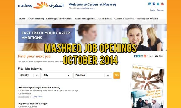 Mashreq Bank UAE Job Opportunities 2014