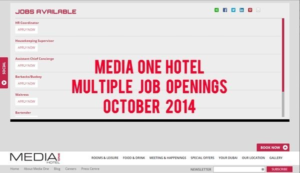 Media One Hotel Dubai Job Openings October 2014