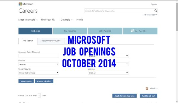 Microsoft UAE Multiple Job Vacancies October 2014