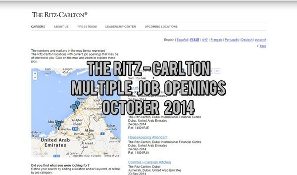 The Ritz-Carlton UAE Job Opportunities October 2014