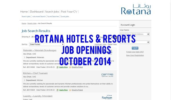 Rotana Hotels and Resorts UAE Multiple Job Opportunities October 2014