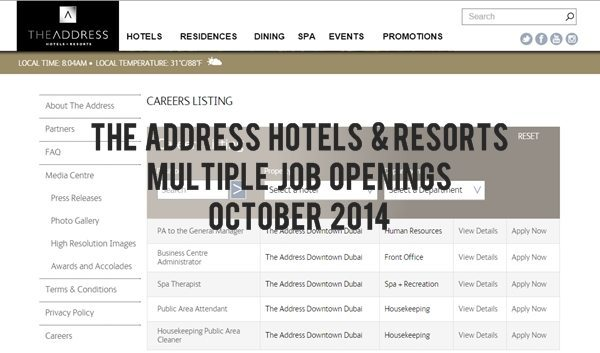 The Address Hotels + Resorts Job Openings October 2014