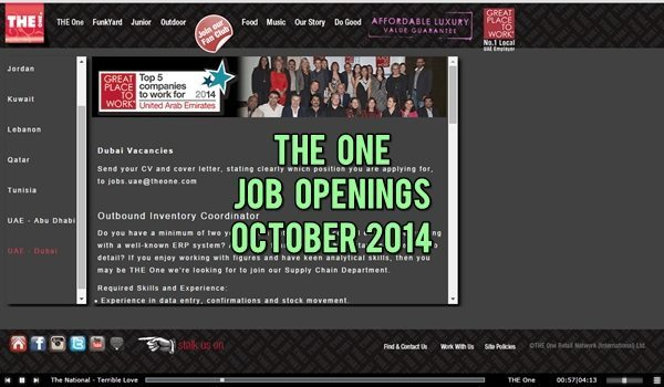 The One Dubai Job Vacancies October 2014