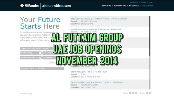 Al-Futtaim UAE Job Opportunities November 2014
