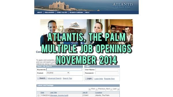Atlantis, The Palm Job Openings November 2014