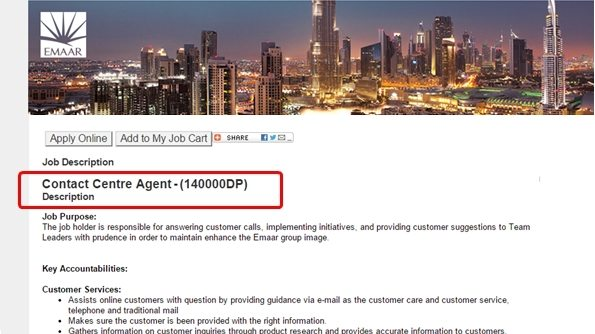 Emaar is Hiring Call Center Agents