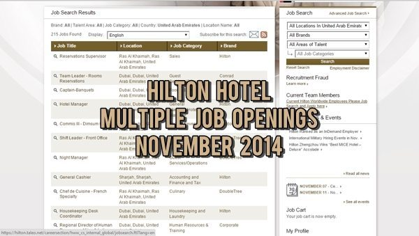 Hilton Hotel UAE Job Openings November 2014