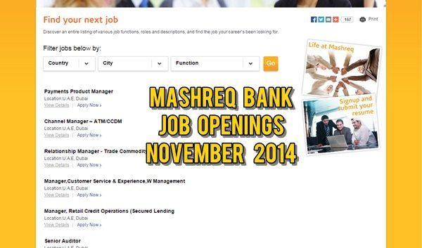 Mashreq UAE Job Openings November 2014