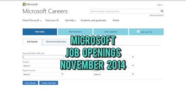Microsoft UAE Multiple Job Vacancies November 2014
