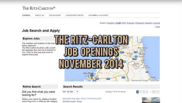Ritz-Carlton UAE Job Openings November 2014