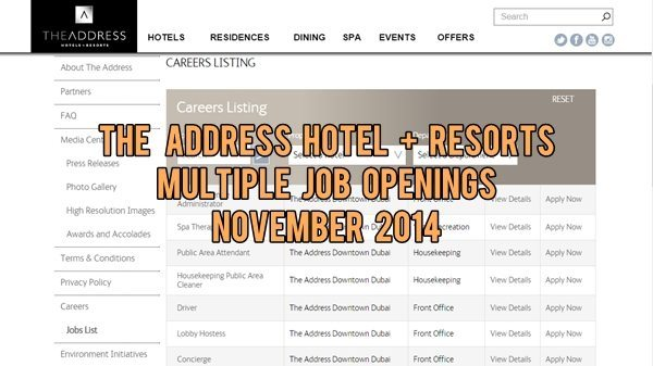 The Address Hotels + Resorts Job Opportunities November 2014