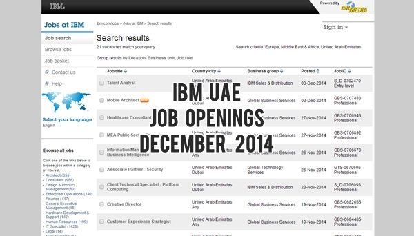 IBM UAE Job Openings December 2014