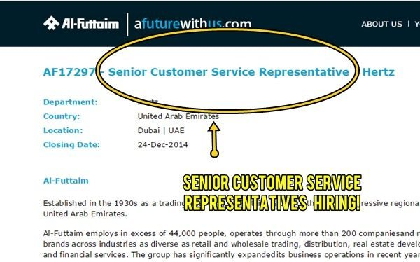 WANTED: Senior Customer Service Rep by Al Futtaim DEC 2014