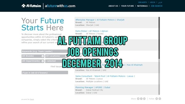 Al-Futtaim UAE Job Openings December 2014