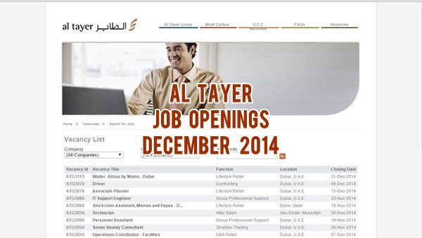 Al Tayer Group Job Openings UAE December 2014
