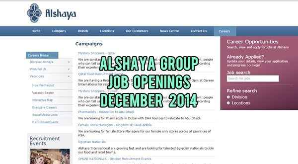 Alshaya UAE Job Openings December 2014
