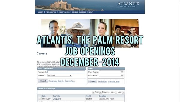 atlantis the palm jobs december 2014