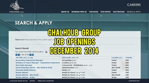 chalhoub group jobs december 2014