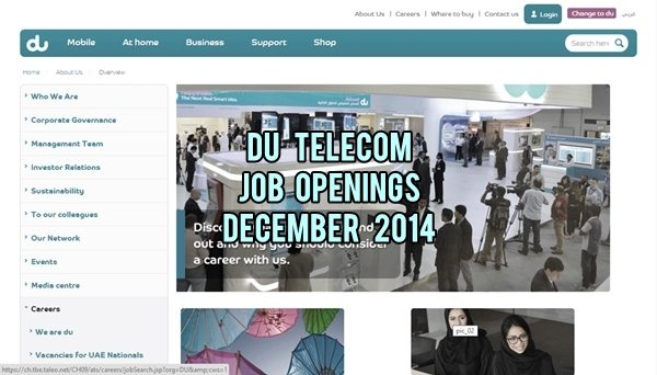 Du Telecom Career Opporunities December 2014