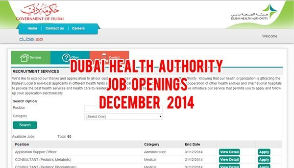 dubai health authority careers december 2014