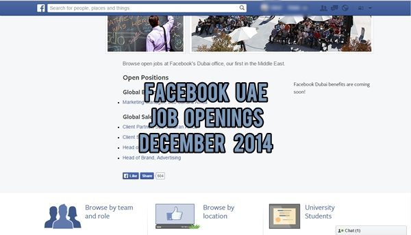 Facebook UAE Job Openings December 2014