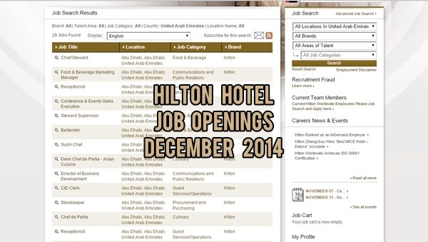 Hilton UAE Job Openings December 2014