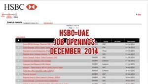 hsbc uae jobs december 2014