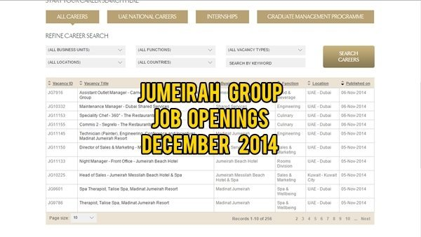 Jumeirah Group Jobs in UAE December 2014