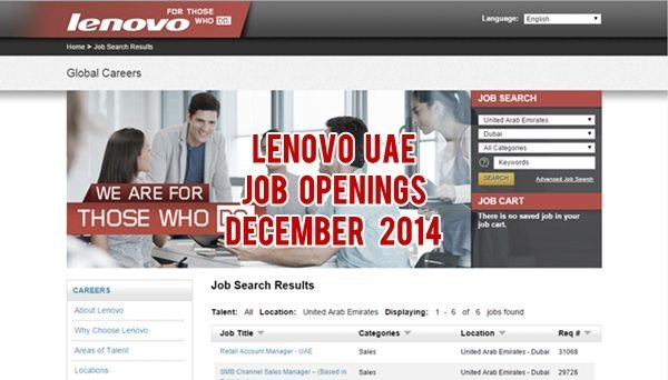 Lenovo UAE Job Openings December 2014