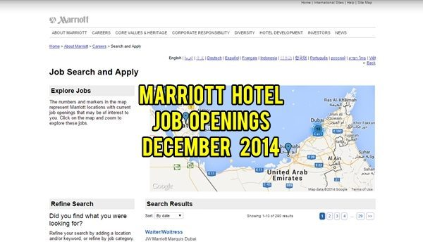 Marriott Hotel UAE Jobs December 2014