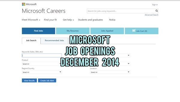 Microsoft UAE Job Vacancies December 2014