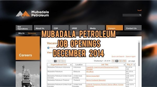 Mubadala Petroleum UAE Job Openings December 2014