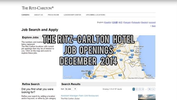 The Ritz-Carlton Job Vacancies UAE December 2014