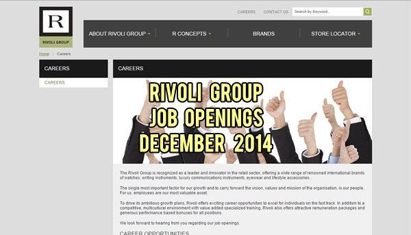 Rivoli Group UAE Job Vacancies December 2014
